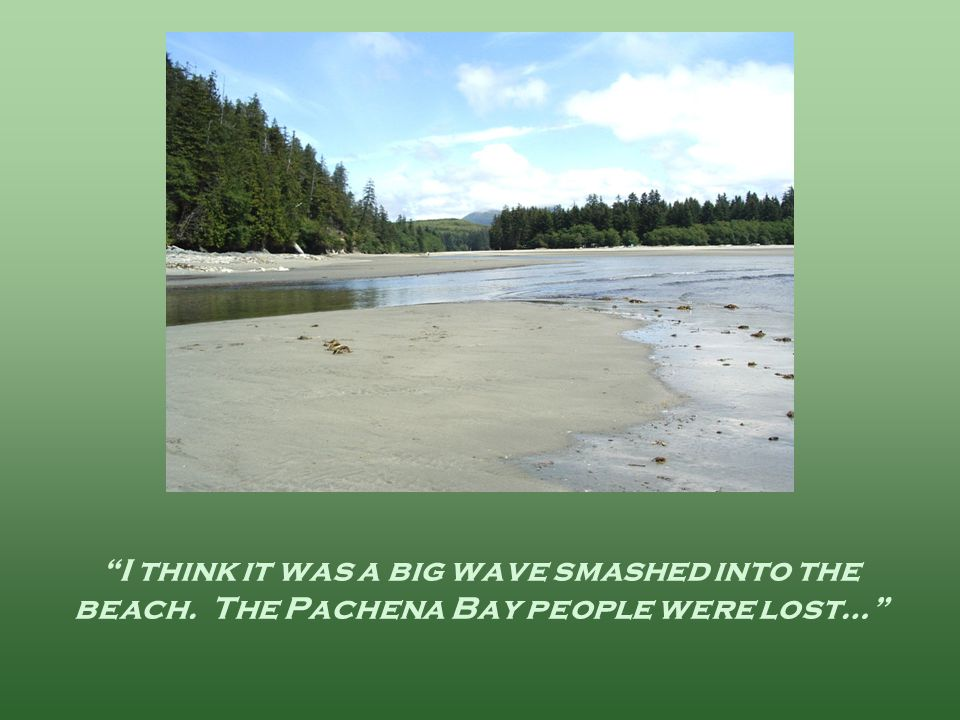 I think it was a big wave smashed into the beach. The Pachena Bay people were lost…