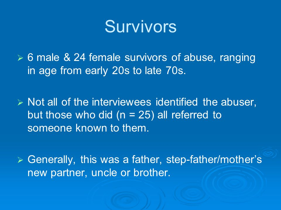 Survivors   6 male & 24 female survivors of abuse, ranging in age from early 20s to late 70s.   Not all of the interviewees identified the abuser,