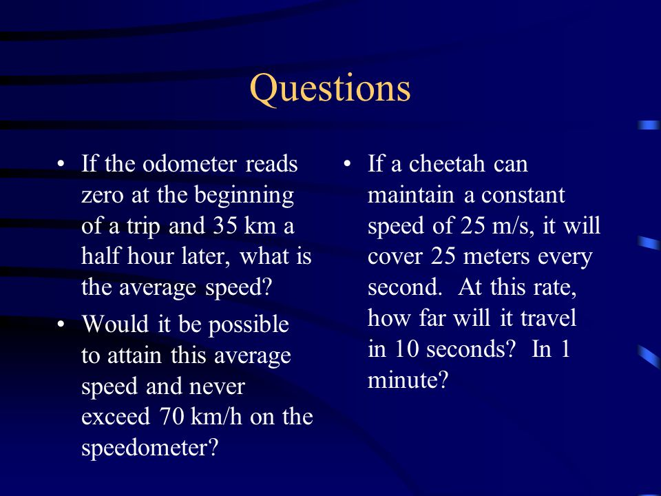 Speed: how fast something is moving / means per,  means change in Speed =  distance /  time average speed = total distance covered / time interval
