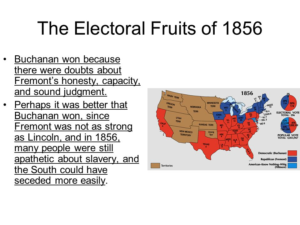 The Electoral Fruits of 1856 Buchanan won because there were doubts about Fremont's honesty, capacity, and sound judgment.