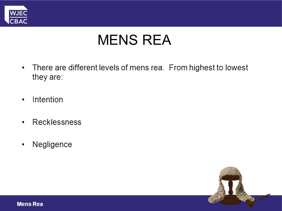 Mens Rea MENS REA There are different levels of mens rea.