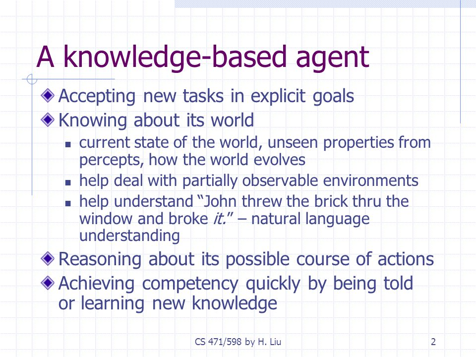 CS 471/598 by H. Liu2 A knowledge-based agent Accepting new tasks in explicit goals Knowing about its world current state of the world, unseen propert