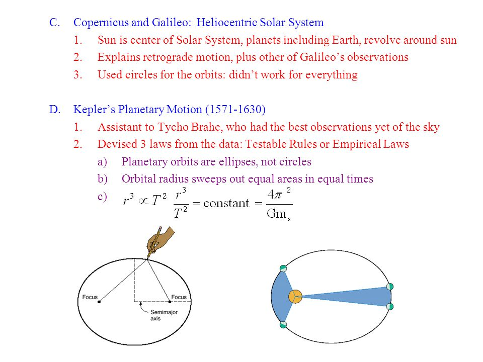 C.Copernicus and Galileo: Heliocentric Solar System 1.Sun is center of Solar System, planets including Earth, revolve around sun 2.Explains retrograde