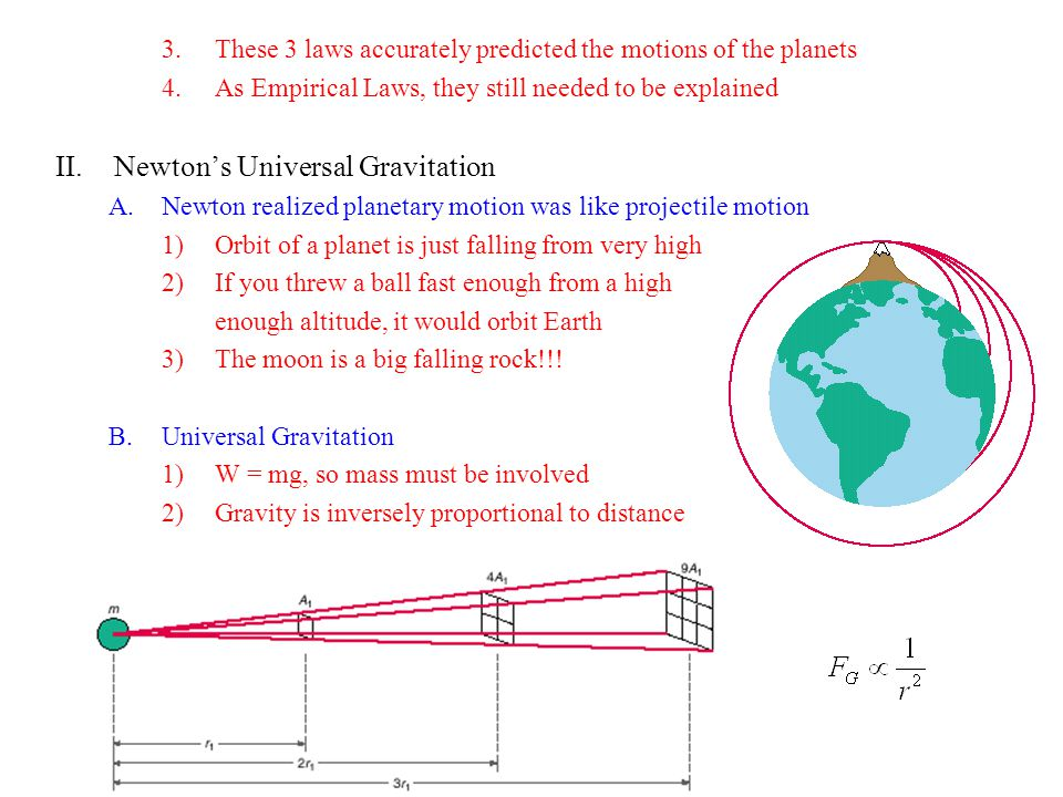 3.These 3 laws accurately predicted the motions of the planets 4.As Empirical Laws, they still needed to be explained II.Newton's Universal Gravitatio