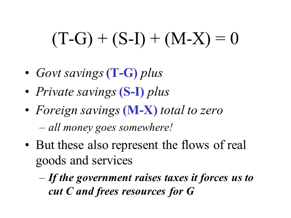 (T-G) + (S-I) + (M-X) = 0 Govt savings (T-G) plus Private savings (S-I) plus Foreign savings (M-X) total to zero –all money goes somewhere.