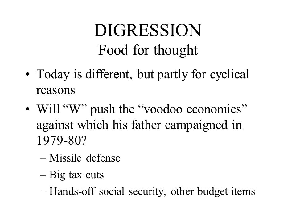 DIGRESSION Food for thought Today is different, but partly for cyclical reasons Will W push the voodoo economics against which his father campaigned in 1979-80.