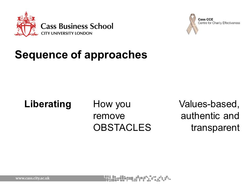 Sequence of approaches LiberatingHow you remove OBSTACLES Values-based, authentic and transparent