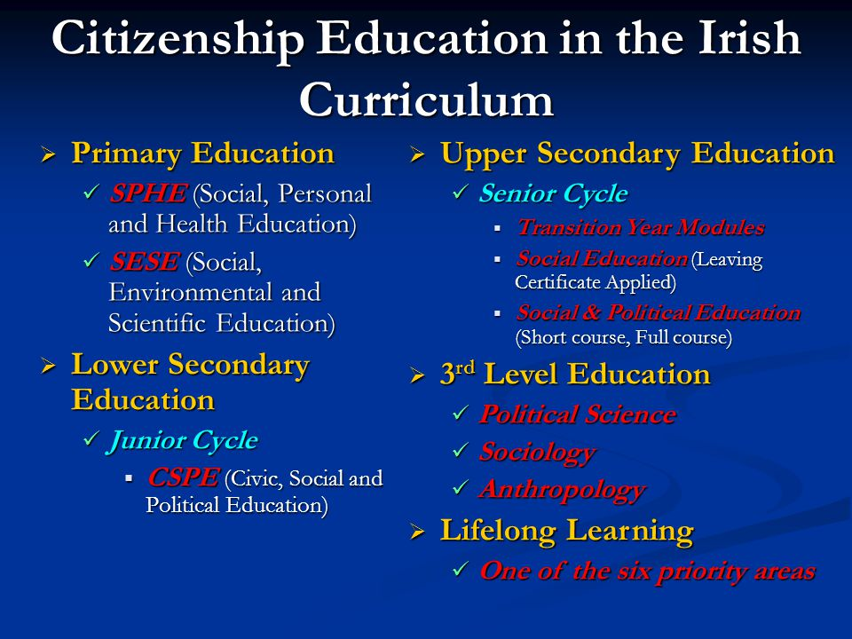 Citizenship Education in the Irish Curriculum  Primary Education SPHE (Social, Personal and Health Education) SPHE (Social, Personal and Health Education) SESE (Social, Environmental and Scientific Education) SESE (Social, Environmental and Scientific Education)  Lower Secondary Education Junior Cycle Junior Cycle  CSPE (Civic, Social and Political Education)  Upper Secondary Education Senior Cycle Senior Cycle  Transition Year Modules  Social Education (Leaving Certificate Applied)  Social & Political Education (Short course, Full course)  3 rd Level Education Political Science Political Science Sociology Sociology Anthropology Anthropology  Lifelong Learning One of the six priority areas One of the six priority areas