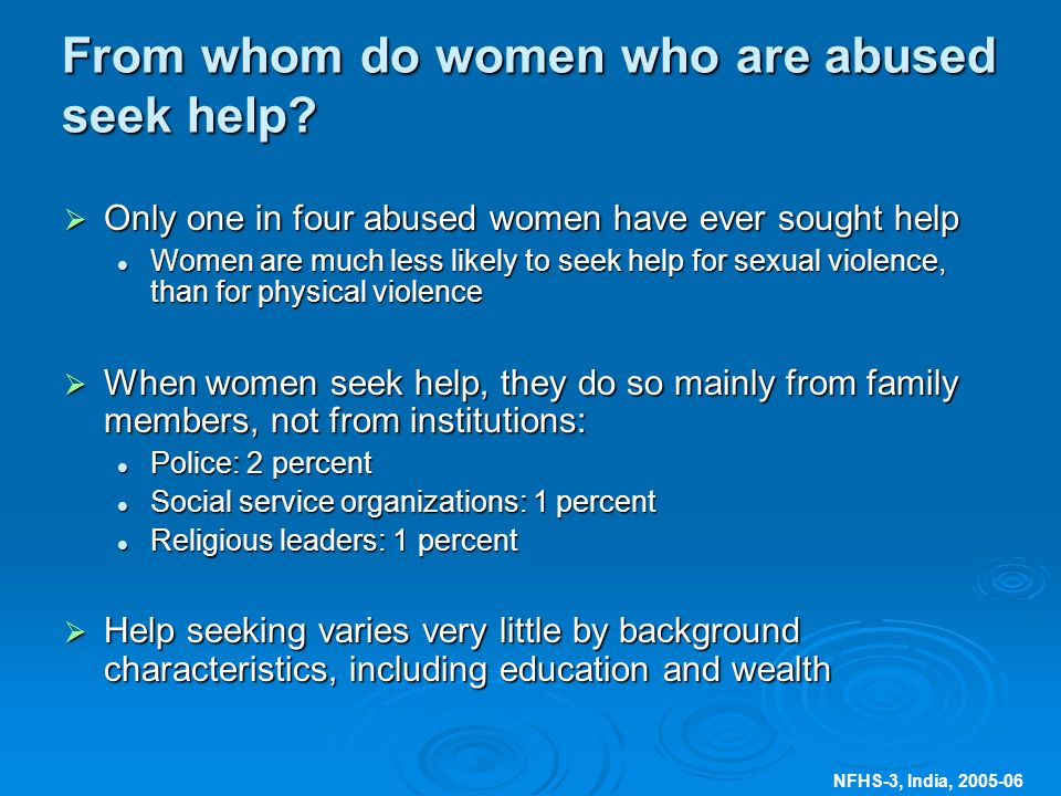 NFHS-3, India, From whom do women who are abused seek help.