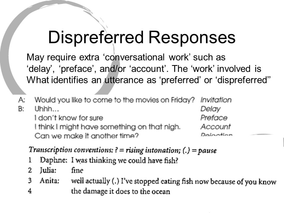 Dispreferred Responses May require extra 'conversational work' such as 'delay', 'preface', and/or 'account'. The 'work' involved is What identifies an