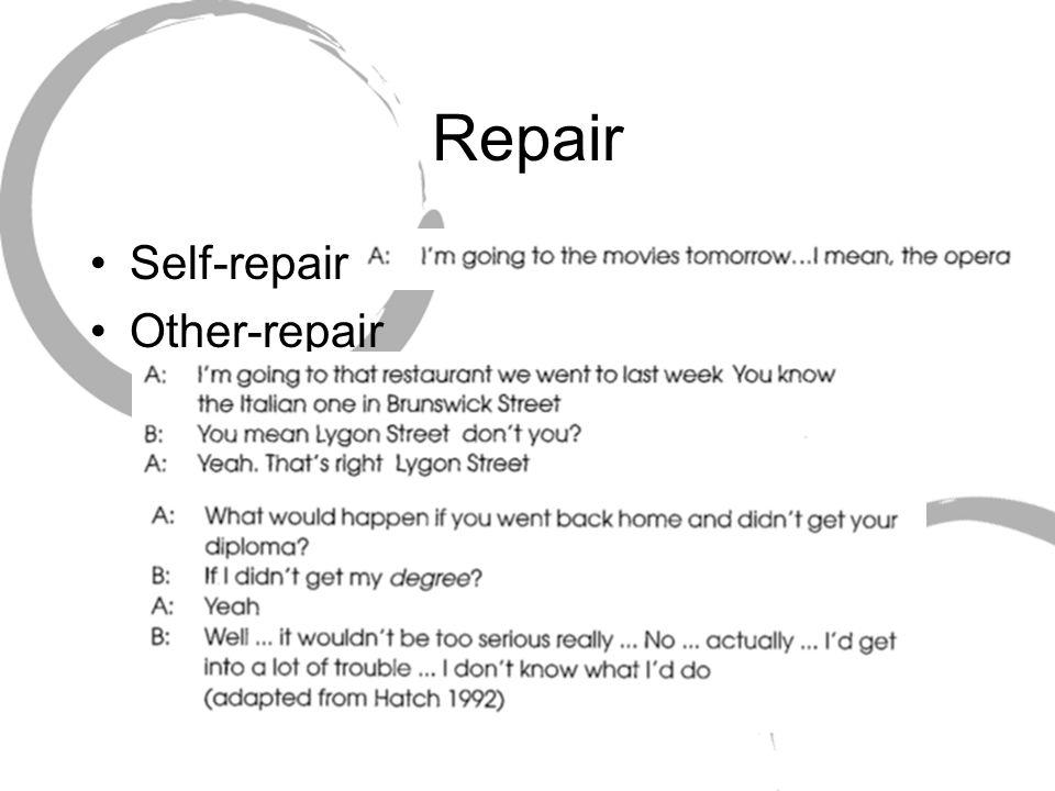 Repair Self-repair Other-repair