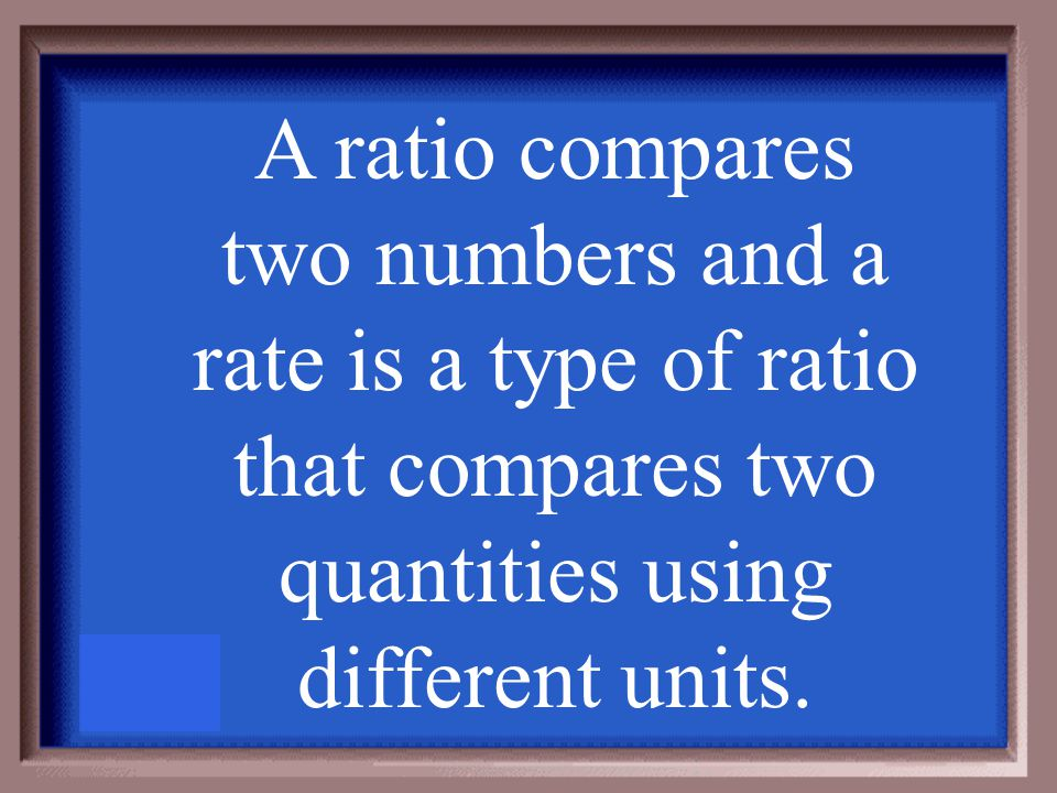 What is the difference between a ratio and a rate