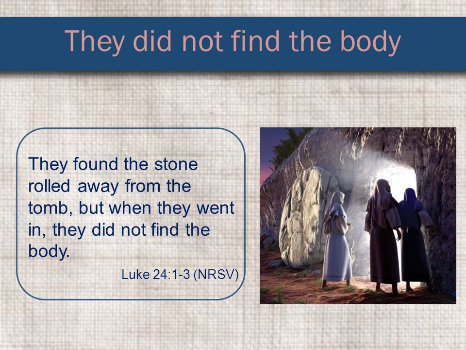 They did not find the body They found the stone rolled away from the tomb, but when they went in, they did not find the body.