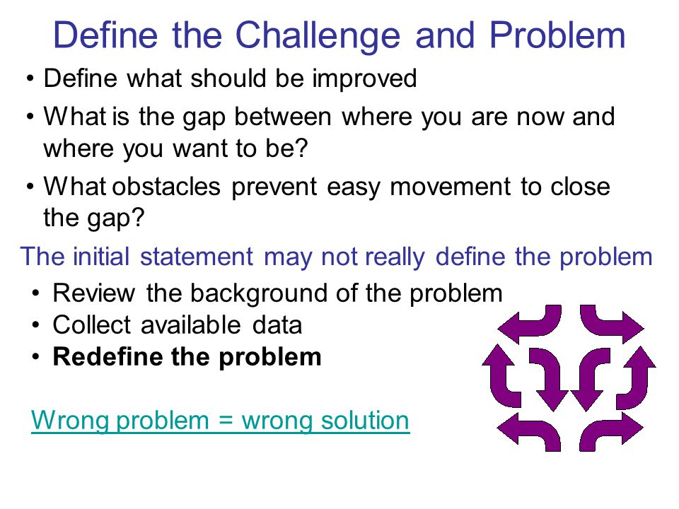 Define the Challenge and Problem The initial statement may not really define the problem Review the background of the problem Collect available data Redefine the problem Wrong problem = wrong solution Define what should be improved What is the gap between where you are now and where you want to be.