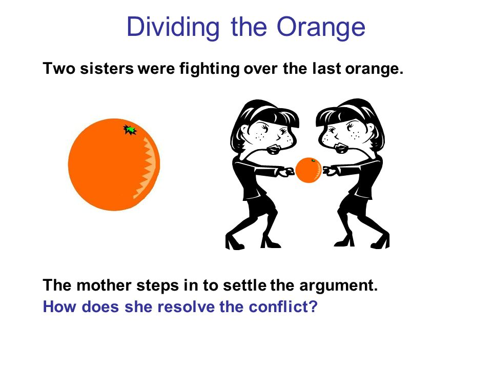 Two sisters were fighting over the last orange.The mother steps in to settle the argument.