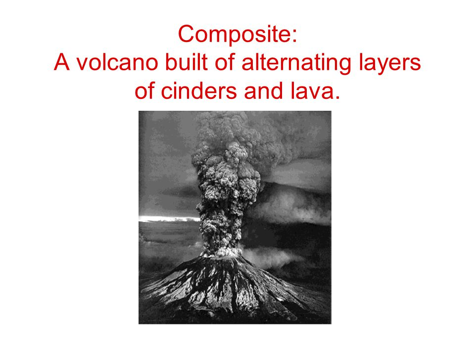 Composite: A volcano built of alternating layers of cinders and lava.
