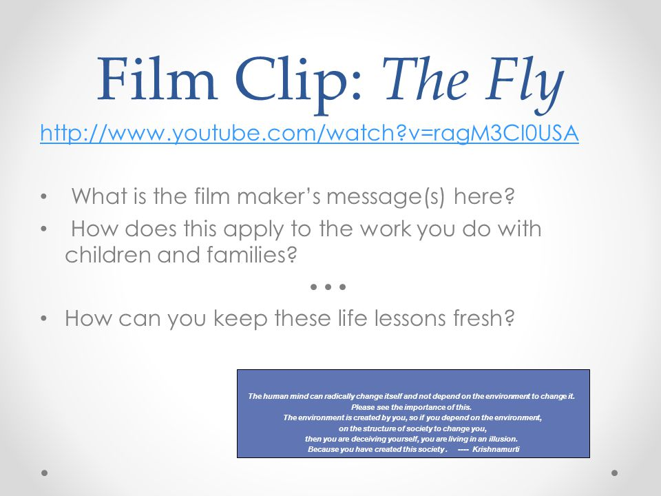 Film Clip: The Fly http://www.youtube.com/watch?v=ragM3CI0USA What is the film maker's message(s) here.