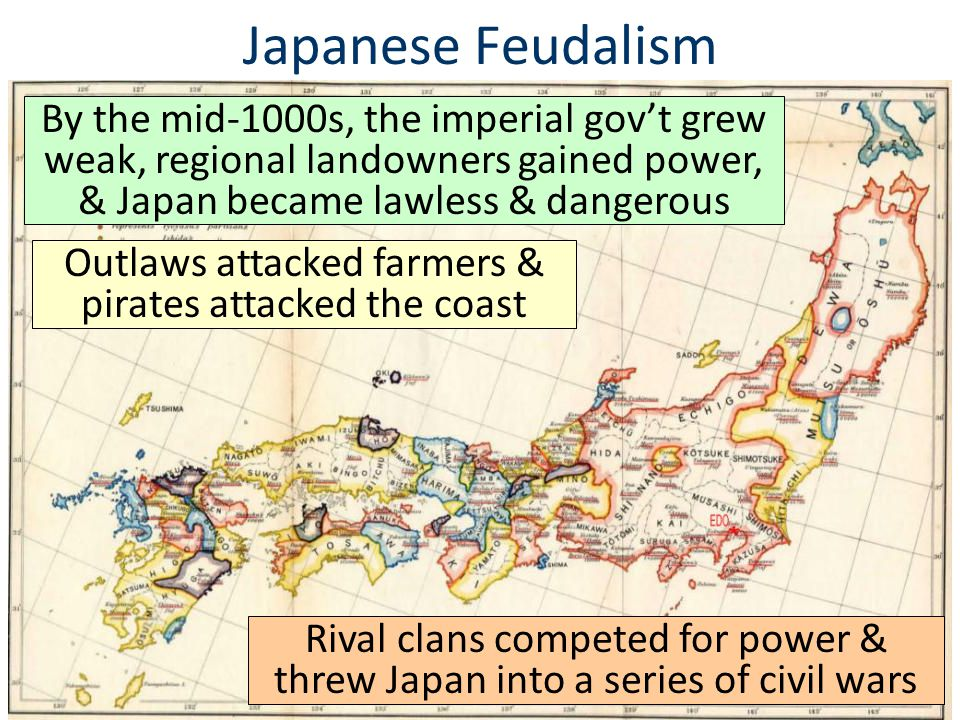 Japanese Feudalism ■?■? By the mid-1000s, the imperial gov't grew weak, regional landowners gained power, & Japan became lawless & dangerous Outlaws a