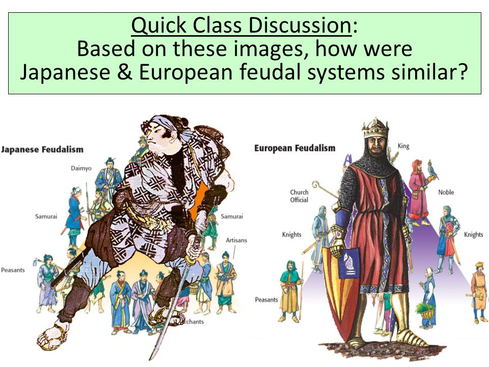Quick Class Discussion: Based on these images, how were Japanese & European feudal systems similar?