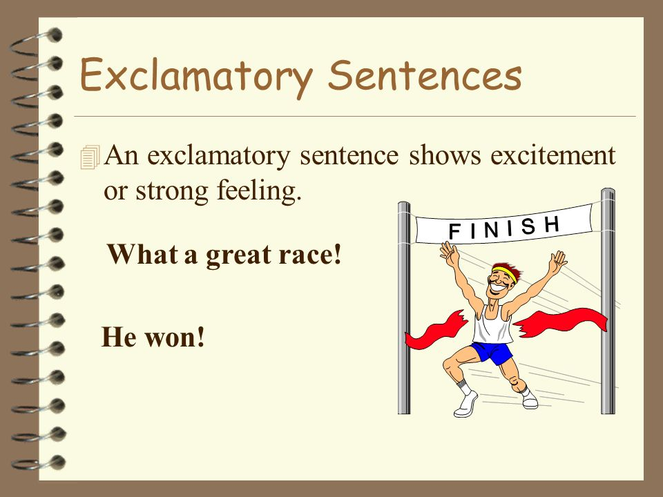 Imperative Sentences 4 An imperative sentence gives an order, or command. Hit the board. Get ready. Use a chopping motion.