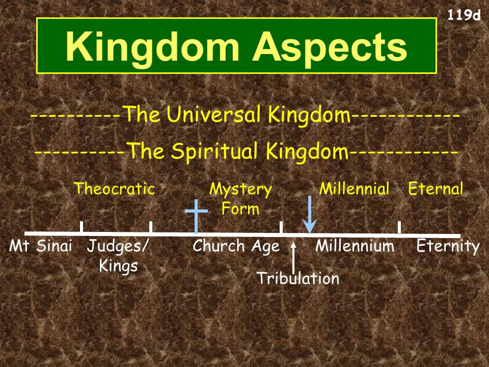Universal Kingdom (everything inside and outside the circle) Universal Kingdom (everything inside and outside the circle) Spiritual Kingdom (saved people) Spiritual Kingdom (saved people) Unsaved Before Christ Present Unbelievers Present Unbelievers Millennial Unbelievers Millennial Unbelievers Church Millennial Believers Millennial Believers Theocracy & Monarchy (OT Saints under Law in Israel) Theocracy & Monarchy (OT Saints under Law in Israel) Saints prior to Moses Millennial Kingdom Second Death (Hell) Second Death (Hell) Eternal Life (Heaven) Eternal Life (Heaven) Kingdom of Darkness (shaded area of all ages with unsaved people and demons) All People (saved and unsaved all in the box) All People (saved and unsaved all in the box) 119 The Kingdom Diagrammed Living Beings Tribulation Unbelievers Tribulation Unbelievers Tribulation Believers Tribulation Believers Mystery Form of the Kingdom Mystery Form of the Kingdom Angels & Animals Angels & Animals