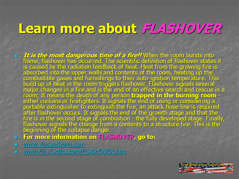 Learn more about FLASHOVER It is the most dangerous time of a fire!.