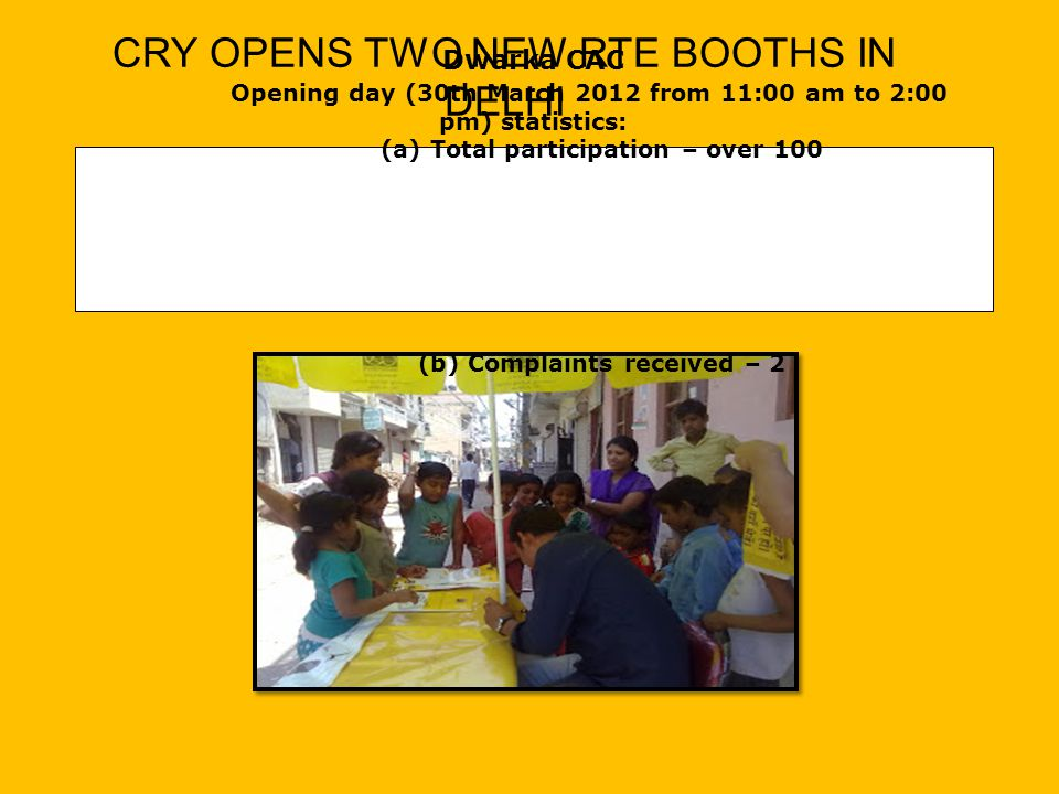 Dwarka CAC Opening day (30th March 2012 from 11:00 am to 2:00 pm) statistics: (a) Total participation – over 100 (b) Complaints received – 2 CRY OPENS TWO NEW RTE BOOTHS IN DELHI