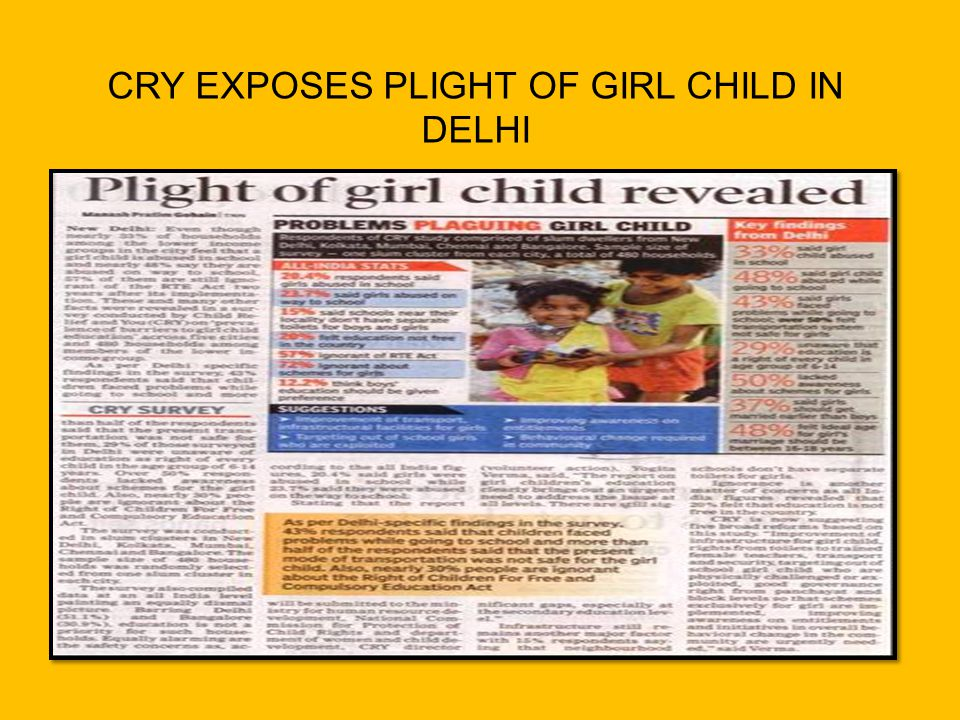 CRY EXPOSES PLIGHT OF GIRL CHILD IN DELHI