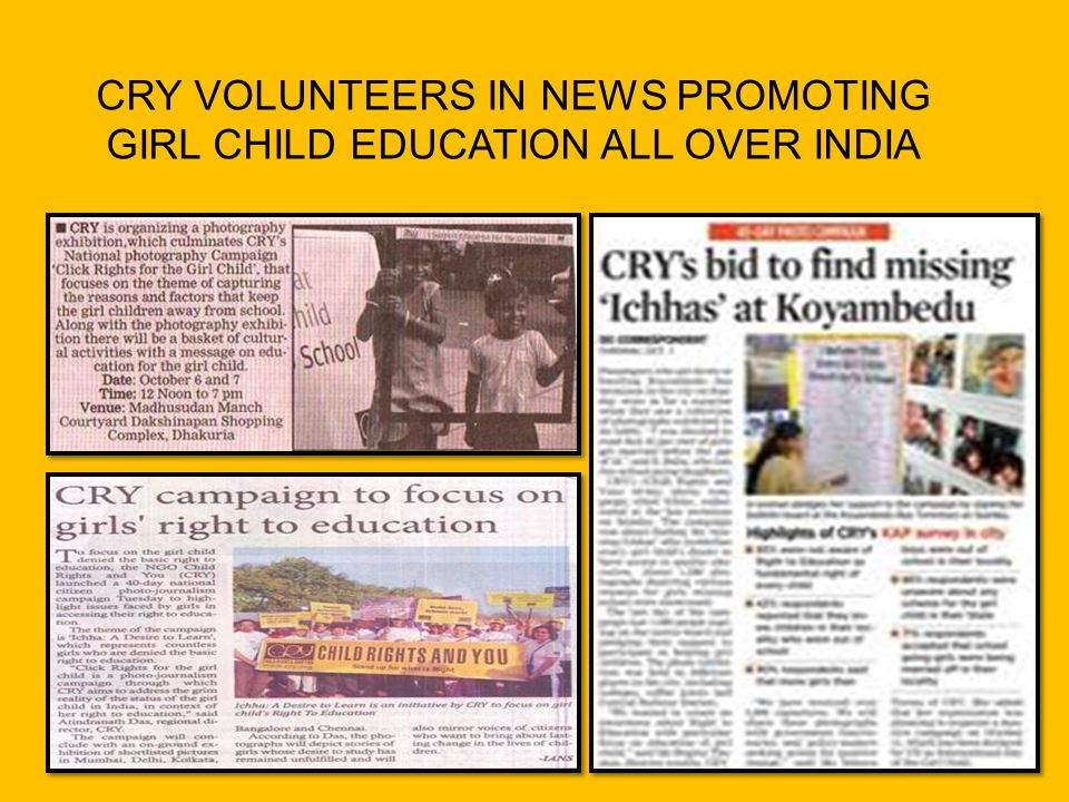 CRY VOLUNTEERS IN NEWS PROMOTING GIRL CHILD EDUCATION ALL OVER INDIA