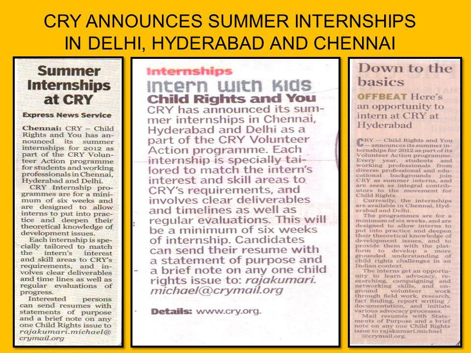 CRY ANNOUNCES SUMMER INTERNSHIPS IN DELHI, HYDERABAD AND CHENNAI