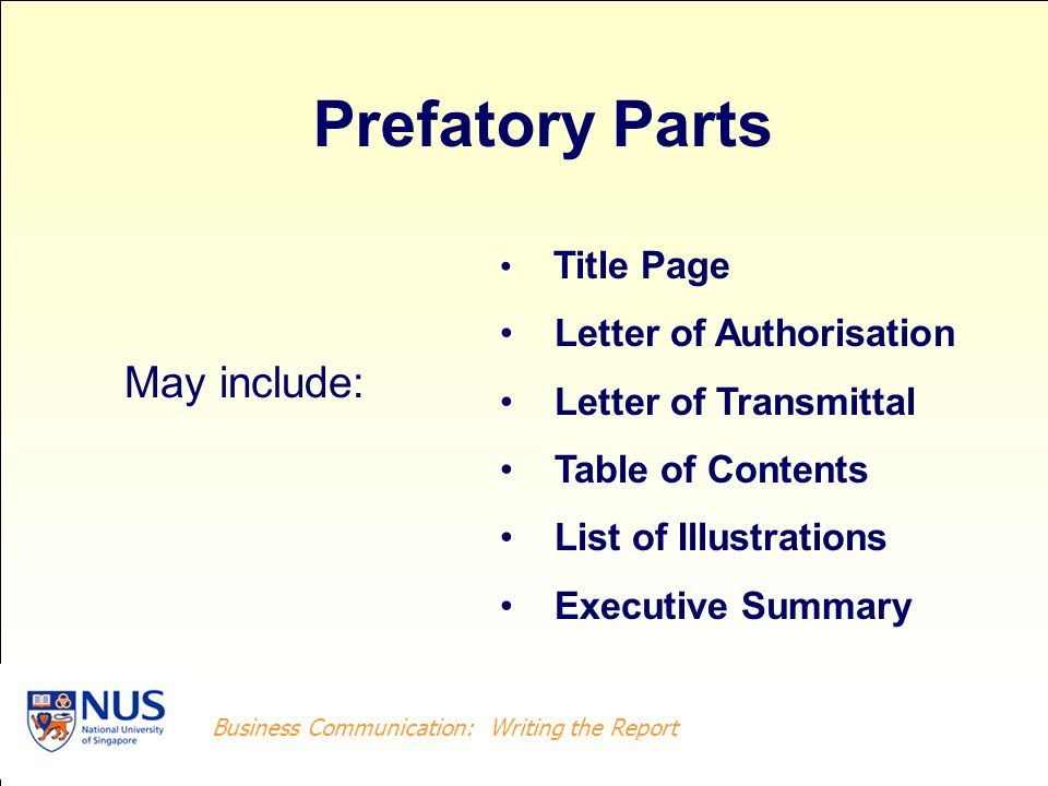 Business Writing: Writing the Report Business Communication: Writing the Report References (Sources) Endnotes Appendix May include: Supplementary Parts