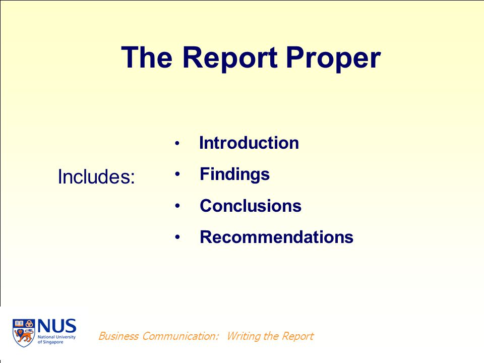 Business Writing: Writing the Report Business Communication: Writing the Report Introduction Findings Conclusions Recommendations Includes: The Report