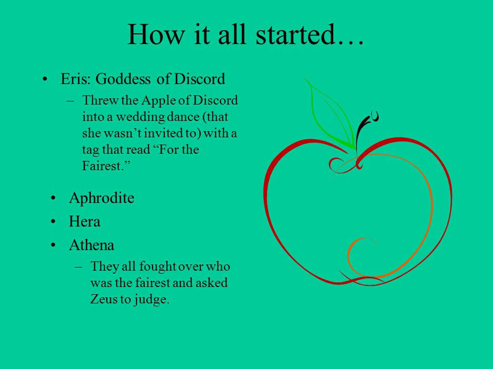 How it all started… Eris: Goddess of Discord –Threw the Apple of Discord into a wedding dance (that she wasn't invited to) with a tag that read For the Fairest. Aphrodite Hera Athena –They all fought over who was the fairest and asked Zeus to judge.
