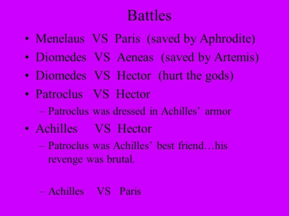 Battles Menelaus VS Paris (saved by Aphrodite) Diomedes VS Aeneas (saved by Artemis) Diomedes VS Hector (hurt the gods) Patroclus VS Hector –Patroclus was dressed in Achilles' armor Achilles VS Hector –Patroclus was Achilles' best friend…his revenge was brutal.