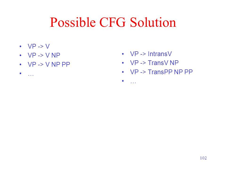102 Possible CFG Solution VP -> V VP -> V NP VP -> V NP PP … VP -> IntransV VP -> TransV NP VP -> TransPP NP PP …