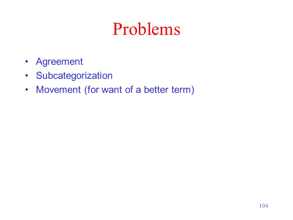 104 Problems Agreement Subcategorization Movement (for want of a better term)