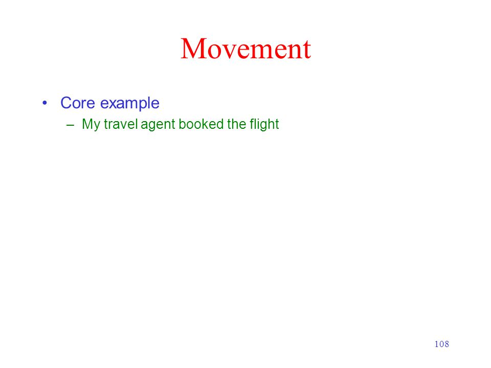 108 Movement Core example –My travel agent booked the flight