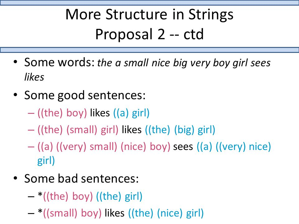 More Structure in Strings Proposal 2 -- ctd Some words: the a small nice big very boy girl sees likes Some good sentences: – ((the) boy) likes ((a) girl) – ((the) (small) girl) likes ((the) (big) girl) – ((a) ((very) small) (nice) boy) sees ((a) ((very) nice) girl) Some bad sentences: – *((the) boy) ((the) girl) – *((small) boy) likes ((the) (nice) girl)