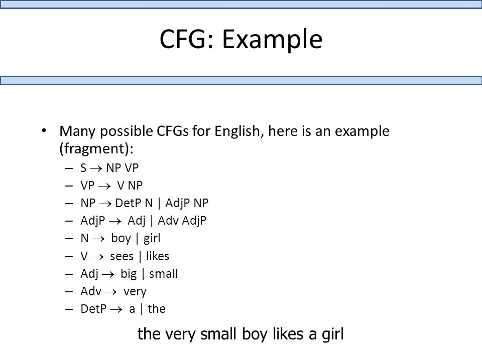 CFG: Example Many possible CFGs for English, here is an example (fragment): – S  NP VP – VP  V NP – NP  DetP N | AdjP NP – AdjP  Adj | Adv AdjP – N  boy | girl – V  sees | likes – Adj  big | small – Adv  very – DetP  a | the the very small boy likes a girl