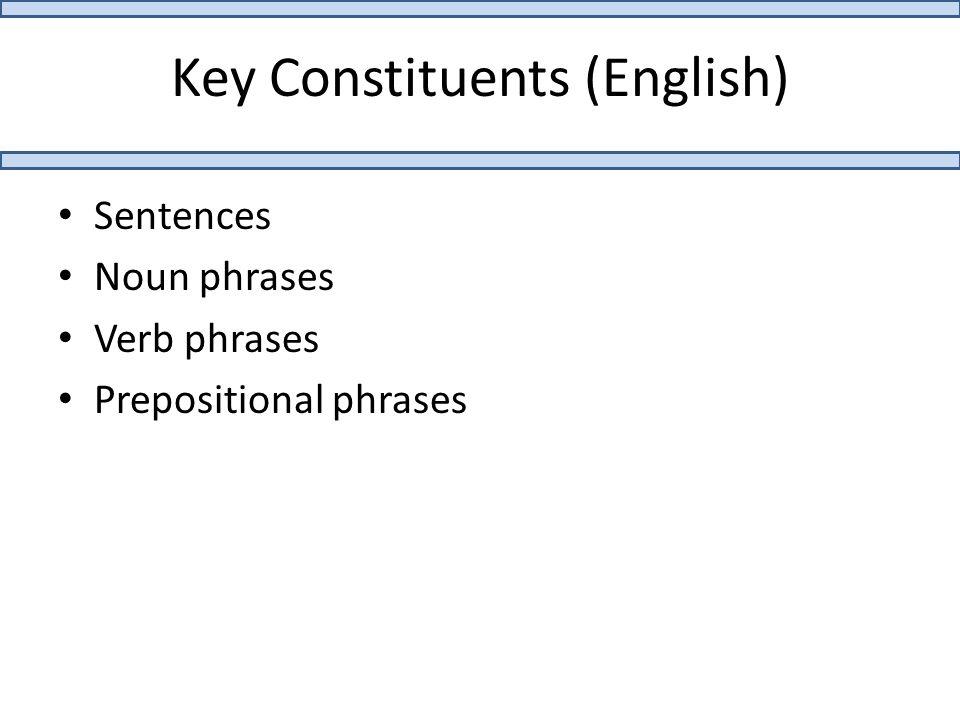 Key Constituents (English) Sentences Noun phrases Verb phrases Prepositional phrases