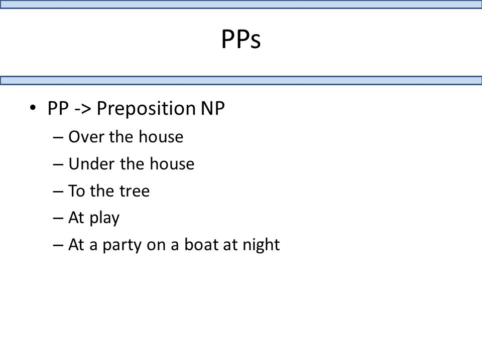 PPs PP -> Preposition NP – Over the house – Under the house – To the tree – At play – At a party on a boat at night