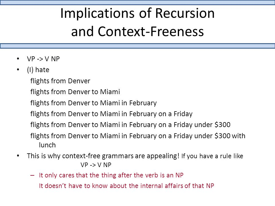 Implications of Recursion and Context-Freeness VP -> V NP (I) hate flights from Denver flights from Denver to Miami flights from Denver to Miami in Fe