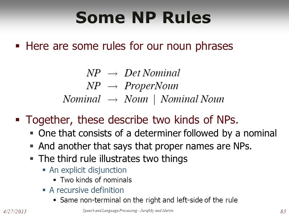 4/27/2015 Speech and Language Processing - Jurafsky and Martin 85 Some NP Rules  Here are some rules for our noun phrases  Together, these describe two kinds of NPs.