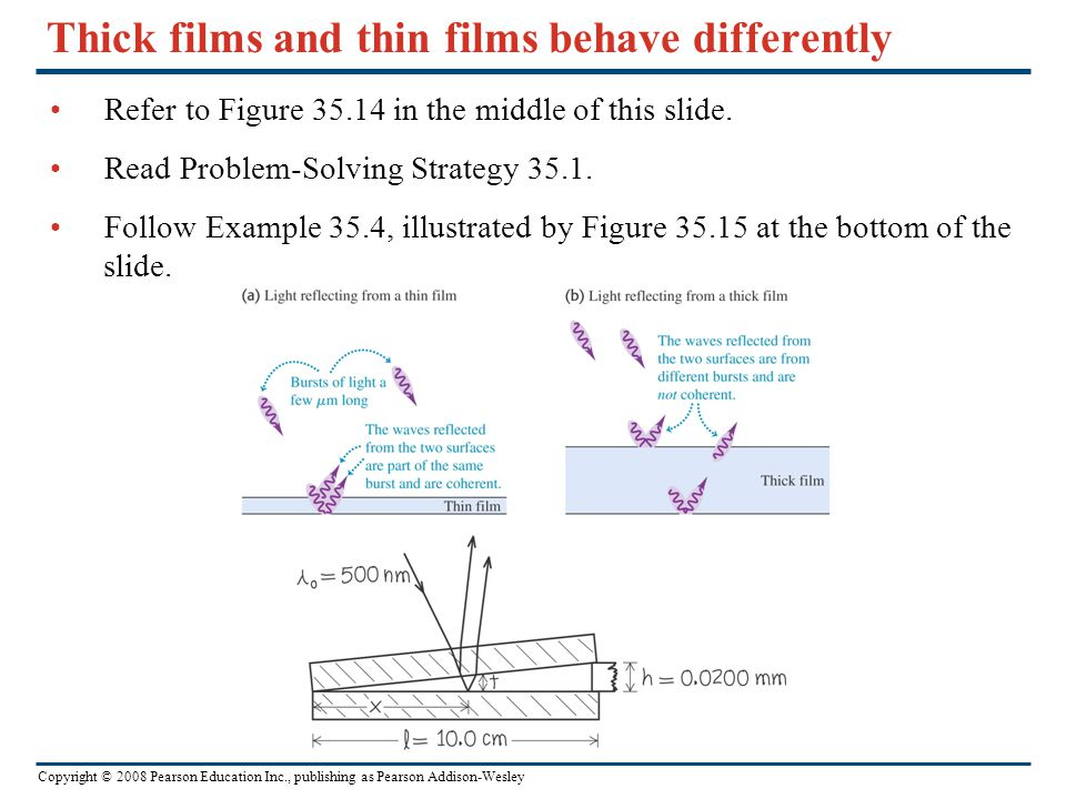 Copyright © 2008 Pearson Education Inc., publishing as Pearson Addison-Wesley Thick films and thin films behave differently Refer to Figure 35.14 in t