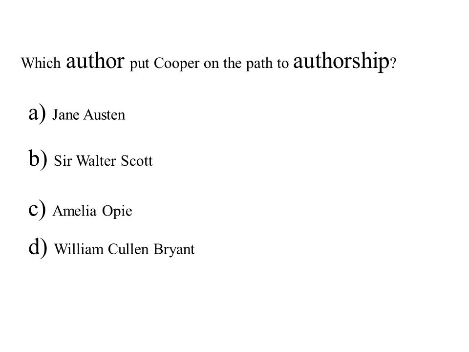Which author put Cooper on the path to authorship .
