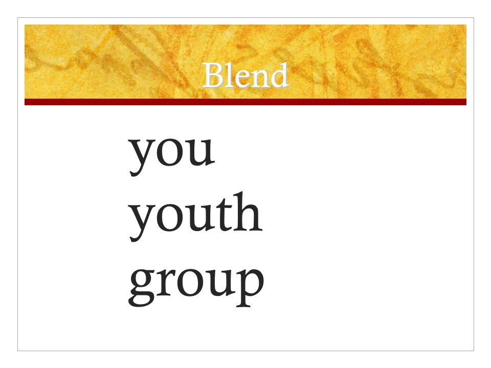 Blend you youth group