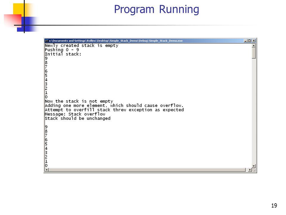 19 Program Running
