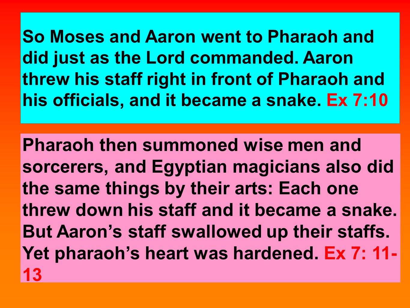 So Moses and Aaron went to Pharaoh and did just as the Lord commanded.