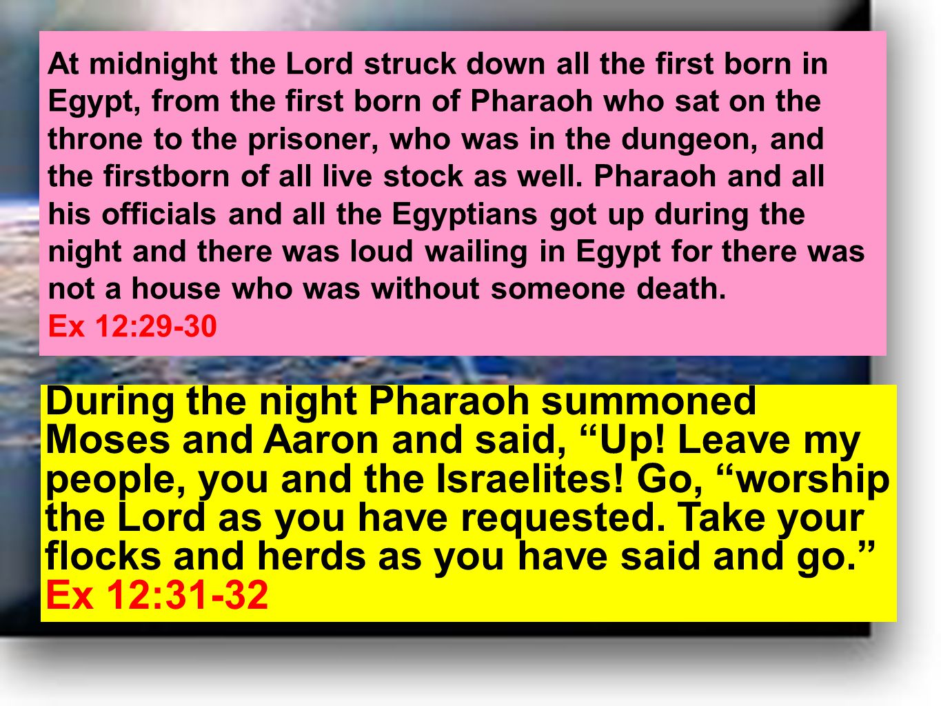 At midnight the Lord struck down all the first born in Egypt, from the first born of Pharaoh who sat on the throne to the prisoner, who was in the dungeon, and the firstborn of all live stock as well.
