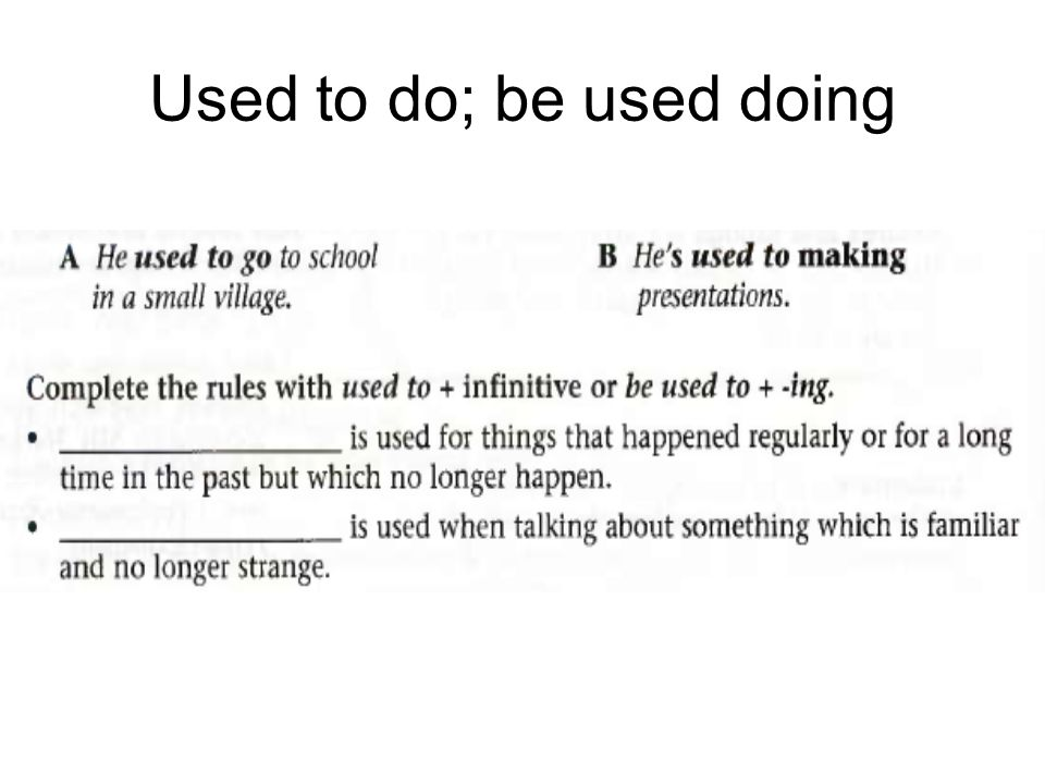 Used to do; be used doing